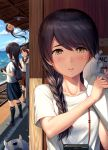 4girls admiral_(kantai_collection) ayanami_(kantai_collection) bag beach black_hair blue_sky braid brown_eyes brown_hair camera clouds commentary_request day enemy_lifebuoy_(kantai_collection) hair_over_shoulder hand_on_another's_face highres horizon ichikawa_feesu isonami_(kantai_collection) kantai_collection light_bulb long_hair looking_at_viewer multiple_girls ocean outdoors ponytail pov railroad_tracks school_uniform serafuku shikinami_(kantai_collection) shirt short_hair side_ponytail single_braid sky solo_focus upper_body uranami_(kantai_collection) white_shirt