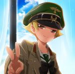 1girl black_neckwear blonde_hair blue_sky blurry blurry_foreground bow bowtie brown_eyes brown_jacket closed_mouth clouds cloudy_sky commentary curtains day depth_of_field erwin_(girls_und_panzer) girls_und_panzer goggles goggles_on_headwear green_hat half-closed_eyes hat indoors jacket light_particles long_sleeves looking_at_viewer military_hat military_jacket ooarai_school_uniform open_clothes open_jacket peaked_cap pointy_hair portrait short_hair sky smile solo sonasiz v window