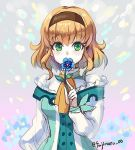 1girl bangs blonde_hair blue_flower breasts brown_hairband cravat eyebrows_visible_through_hair flower fujimaru_(green_sparrow) green_eyes hairband holding holding_flower long_sleeves lowres medium_breasts natalia_luzu_kimlasca_lanvaldear short_hair solo tales_of_(series) tales_of_the_abyss twitter_username upper_body yellow_neckwear
