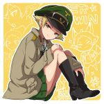 1girl black_footwear black_neckwear blonde_hair boots bow bowtie brown_eyes brown_jacket character_name closed_mouth erwin_(girls_und_panzer) from_side full_body girls_und_panzer goggles goggles_on_headwear green_hat half-closed_eyes hand_on_own_knee hat head_tilt iron_cross jacket leaning_forward long_sleeves looking_at_viewer military_hat military_jacket ooarai_school_uniform open_clothes open_jacket outline peaked_cap pointy_hair scribble short_hair sitting smile solo sonasiz yellow_background