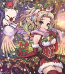 1girl bare_shoulders bell blonde_hair breasts christmas elbow_gloves eyebrows_visible_through_hair final_fantasy final_fantasy_vi framed_breasts fujimaru_(green_sparrow) fur-trimmed_gloves fur-trimmed_skirt fur_trim gift gloves gradient_hair green_hair hair_intakes hair_ornament holding holding_gift long_hair looking_at_viewer medium_breasts moogle multicolored_hair ponytail purple_scarf red_gloves red_legwear red_skirt sack scarf skirt solo striped striped_skirt thigh-highs tina_branford tree twitter_username two-tone_hair vertical-striped_skirt vertical_stripes violet_eyes wavy_hair