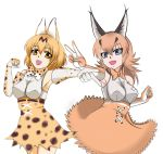 2girls :d animal_ears blonde_hair blue_eyes bow bowtie brown_gloves brown_hair brown_neckwear brown_skirt caracal_(kemono_friends) caracal_ears cross-laced_clothes elbow_gloves extra_ears eyebrows_visible_through_hair gloves hair_between_eyes hand_up high-waist_skirt impossible_clothes impossible_shirt kemono_friends long_hair multiple_girls open_mouth outstretched_arm print_gloves print_neckwear print_skirt saijouji_reika serval_(kemono_friends) serval_ears serval_print shirt simple_background skirt sleeveless sleeveless_shirt smile spotted_hair v white_background white_belt white_gloves yellow_eyes yellow_gloves yellow_neckwear yellow_skirt