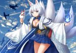 1girl aircraft airplane animal_ears azur_lane bangs blue_eyes blue_fire blue_skirt blue_sky breasts cleavage clouds cloudy_sky commentary day english_commentary eyebrows_visible_through_hair fire fox_ears fox_girl fox_mask fox_tail highres holding holding_mask japanese_clothes kaga_(azur_lane) kazenokaze kimono kitsune long_sleeves mask mask_removed medium_breasts multiple_tails outdoors pleated_skirt short_hair silver_hair skirt sky solo standing tail v-shaped_eyebrows white_kimono wide_sleeves