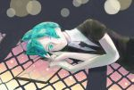 1other androgynous aqua_eyes aqua_hair clipboard colored_eyelashes crystal_hair gem_uniform_(houseki_no_kuni) green_eyes green_hair hair_over_one_eye highres houseki_no_kuni looking_at_viewer lying necktie on_side phosphophyllite short_hair solo window_shade