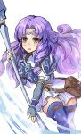 1girl armor blue_armor blue_gloves blue_legwear breastplate circlet dress elbow_gloves fingerless_gloves fire_emblem fire_emblem:_rekka_no_ken fire_emblem_heroes florina fujimaru_(green_sparrow) gloves green_eyes hair_intakes holding holding_weapon lance nintendo open_mouth pegasus_knight polearm purple_hair shoulder_pads solo thigh-highs weapon white_dress zettai_ryouiki