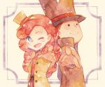 1boy 1girl ;) ;d back-to-back black_eyes black_hat blue_eyes blush_stickers brown_hair hand_on_hip hat hershel_layton jacket katrielle_layton looking_at_viewer one_eye_closed open_mouth pointing pointing_at_viewer pose professor_layton redhead rrrpct smile standing top_hat traditional_media watercolor_(medium) yellow_hat yellow_jacket