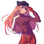 1girl animal_hat blue_eyes bodysuit cat_hat closed_mouth eyepatch gloves hand_in_pocket hand_on_headwear hat ilya_kuvshinov jacket long_hair looking_at_viewer neon_genesis_evangelion orange_hair pilot_suit plugsuit rebuild_of_evangelion red_bodysuit red_gloves solo souryuu_asuka_langley track_jacket turtleneck white_background