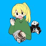 1girl bag bangs black_eyes black_nails blonde_hair blue_background book commentary_request eguchi_saan eyebrows_visible_through_hair fang fingernails green_shirt hair_between_eyes holding holding_bag long_sleeves nail_polish open_book poniko shirt side_ponytail simple_background solo uboa yume_nikki