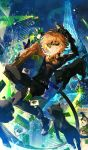 1boy adrien_agreste aircraft animal_ears bell black_bodysuit blonde_hair bodysuit boots building calling_card cat cat_ears character_name chat_noir eiffel_tower fingernails green_sclera grin helicopter highres looking_at_viewer male_focus mask miraculous_ladybug scorpion5050 sharp_fingernails skyscraper smile