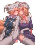 2girls absurdres blonde_hair blush breasts commentary_request dress elbow_gloves eyebrows_visible_through_hair fox_tail frilled_dress frilled_panties frills gloves hat hat_ribbon highres holding_hand large_breasts long_hair long_sleeves looking_at_another masanaga_(tsukasa) mob_cap multiple_girls multiple_tails neck_ribbon orange_eyes panties panty_pull pillow_hat purple_dress red_neckwear ribbon short_hair simple_background sitting skirt skirt_lift tabard tail tassel thigh-highs touhou underwear white_background white_dress white_gloves white_legwear white_panties yakumo_ran yakumo_yukari