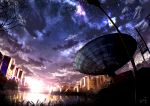 highres house kumeki_(kk4615) night night_sky no_humans original satellite_dish scenery sky star_(sky) starry_sky tree