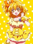 1girl :d bangs bow breasts choker collarbone cure_pine dress earrings eyebrows_visible_through_hair fresh_precure! hair_bow hair_ornament heart heart_earrings heart_hair_ornament high_ponytail jewelry kagami_chihiro looking_at_viewer magical_girl medium_breasts open_mouth orange_choker orange_hair polka_dot polka_dot_background precure shiny shiny_hair shiny_skin short_dress short_hair short_sleeves side_ponytail smile solo two-tone_background wrist_cuffs yamabuki_inori yellow_background