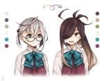 2girls ahoge alternate_hair_color asashimo_(kantai_collection) bangs blue-framed_eyewear blue_bow blue_neckwear bow bowtie brown_hair color_switch crossed_bangs directional_arrow dress eyebrows_visible_through_hair glasses green_eyes grey_hair hair_over_one_eye kantai_collection light_brown_hair long_hair miroku_san-ju multicolored_hair multiple_girls okinami_(kantai_collection) open_mouth pleated_dress ponytail purple_dress school_uniform shirt short_hair signature smile squiggle sweatdrop two-tone_hair upper_body white_background white_shirt wing_collar