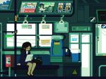 1girl ad animated animated_gif arm_at_side bench black_footwear black_hair caution closed_eyes door hand_grip long_hair lowres office_lady original pixel_art power_lines sitting solo sunlight telephone_pole toyoi_yuuta train_interior window