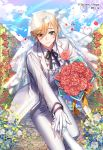 1boy blonde_hair blue_sky bouquet clouds day flower formal gloves green_eyes heart hetero holding holding_bouquet interitio light_smile looking_at_viewer male_focus official_art original outdoors pants path petals road sid_story sky suit veil vest wedding white_gloves white_pants white_suit white_vest