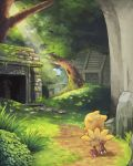 absurdres chocobo final_fantasy forest highres machika_(mukulife) nature no_humans overgrown ruins sunlight walking