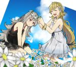 2girls absurdres alternate_costume black_dress blonde_hair blue_sky bracelet braid closed_eyes closed_mouth clouds commission crown_braid day dress ebinku fire_emblem fire_emblem_heroes flower grey_hair hair_flower hair_ornament head_wreath highres jewelry kneeling long_hair multiple_girls nintendo open_mouth outdoors red_eyes sharena sitting sky veronica_(fire_emblem) white_dress