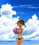 1girl ball beachball bikini black_bikini blue_sky blurry breasts brown_hair character_name cleavage clouds cloudy_sky day english eyebrows_visible_through_hair front-tie_bikini front-tie_top hair_tie happy_birthday highres holding koretsuna kurimoto_haruka medium_breasts medium_hair navel ocean outdoors ponytail school_girl_strikers side-tie_bikini sky solo swimsuit tan tanline thigh_gap transparent