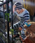 1boy 1girl ball_and_chain_restraint beard bench blue_bow bow brown_hair envelope facial_hair flower ggozira green_bow green_eyes grey_hair hair_bow hair_rings hat highres indoors letter light_rays looking_at_another official_art plant potted_plant prison prison_clothes prisoner sitting striped_clothes striped_hat stubble tenkuu_no_crystalia