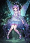 1girl absurdres bangs bare_shoulders blue_dress blue_eyes blue_footwear braid bug butterfly butterfly_wings center_frills dress fairy_wings fireflies flower frilled_skirt frilled_sleeves frills glowing_flower gold_trim green_eyes hair_flower hair_ornament heterochromia highres insect layered_skirt leaf lips long_hair maccha_(mochancc) multicolored_hair nature original parted_lips pigeon-toed pink_hair plant pointy_ears purple_dress purple_hair rose rose_hair_ornament single_braid sitting skirt sleeveless sleeveless_dress smile solo very_long_hair vines wavy_hair white_dress wide_sleeves wings