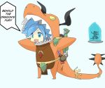 1boy 1girl absurdres animal_costume armor blue_eyes blue_hair candy cosplay dragon dragon_horns dragon_tail drogoz english evie_(paladins) food frozen highres horns ice jewelry lollipop necklace paladins tail twintails varakaq