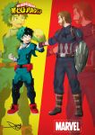 2boys :d artist_name avengers beard belt belt_pouch black_gloves black_legwear boku_no_hero_academia boots brown_footwear brown_hair captain_america clenched_hand copyright_name crossover danyfoo eye_contact facial_hair fist_bump freckles gloves green_eyes green_hair green_pants highres knee_pads looking_at_another male_focus marvel midoriya_izuku multiple_boys open_mouth pants pouch red_background red_footwear shield smile white_gloves yellow_background zoom_layer