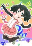1girl alternate_costume alternate_hairstyle bare_shoulders black_hair blue_eyes boots choker collarbone dress elbow_gloves eyebrows_visible_through_hair feather_hair_ornament frilled_dress frills gloves highres inaba31415 japari_symbol kaban_(kemono_friends) kemono_friends lucky_beast_type_3 short_hair strapless strapless_dress tail thigh-highs twintails wand zettai_ryouiki