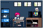 1girl bangs black_legwear blinking blouse blue_eyes blue_sailor_collar blue_skirt bookshelf cat chair computer computer_tower desk dripping fish fish_tank flickering full_body grey_background hair_ornament hairclip indoors jellyfish kneehighs laptop long_sleeves lowres original pink_hair red_neckwear sailor_collar school_chair school_desk short_sleeves skirt sleeping_animal snail solo television toyoi_yuuta white_blouse white_cat white_footwear window zzz
