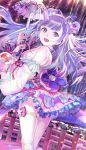 119 1girl :d blue_eyes bow check_character detached_sleeves fish goldfish hair_bow hairband highres leti_(teria_saga) looking_at_viewer night night_sky open_mouth outdoors purple_bow purple_hair railing sash sky smile solo standing star teria_saga thigh_strap umbrella