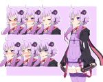 >_< 1girl :d ahoge animal_ears animal_hood bangs black_jacket bunny_hood criss-cross_halter dress expressions eyebrows_visible_through_hair hair_ornament halterneck headset hood hood_down hooded_jacket jacket long_sleeves open_mouth pout purple_background purple_hair purple_legwear rabbit_ears ribbed_dress ribbed_legwear shaded_face short_hair_with_long_locks sidelocks sleeves_past_wrists smile star star-shaped_pupils strapless strapless_dress symbol-shaped_pupils thigh-highs tube_dress violet_eyes voiceroid yamazaki_(now_printing) yuzuki_yukari zettai_ryouiki