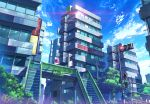 absurdres artist_name blue_sky building city clouds day highres no_humans original outdoors pigsomedom railing road_sign scenery sign sky stairs traffic_light translation_request window