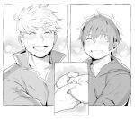 2boys blush closed_eyes gran_(granblue_fantasy) granblue_fantasy greyscale grin hand_holding hood hoodie male_focus monochrome multiple_boys nabana_(bnnbnn) short_hair smile undercut upper_body vane_(granblue_fantasy) yaoi