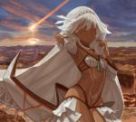 1girl altera_(fate) arm_up armpits bangs black_nails blunt_bangs breasts brown_eyes canyon choker closed_mouth collarbone dark_skin day expressionless fate/grand_order fate_(series) fingernails full_body_tattoo headdress hips light_trail looking_at_viewer midriff multicolored multicolored_sky nail_polish navel outdoors revealing_clothes rock short_hair skirt sky small_breasts solo standing stomach stomach_tattoo sun tan tattoo teke_(exploration) thighs veil white_hair white_skirt