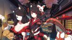 2girls :d aerial_fireworks anger_vein animal animal_ear_fluff animal_ears architecture azur_lane bangs bare_shoulders black_hair black_kimono blue_eyes blush breasts cat_ears cat_mask cleavage closed_mouth commentary_request daruma_doll east_asian_architecture eyebrows_visible_through_hair fireworks frog fusou_(azur_lane) highres holding japanese_clothes kimono lantern large_breasts long_hair long_sleeves mask mask_on_head multiple_girls night night_sky off_shoulder open_mouth outdoors paper_lantern parasol print_kimono rain_lan red_eyes red_umbrella sideboob sky sleeves_past_wrists smile standing umbrella wide_sleeves yamashiro_(azur_lane)
