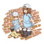 2girls backwards_hat blonde_hair blue_shirt boots brown_eyes brown_hair child clenched_hand cosplay flag hair_ribbon hat hataraku_saibou kneeling long_hair maribel_hearn multiple_girls open_mouth pink_eyes platelet_(hataraku_saibou) platelet_(hataraku_saibou)_(cosplay) ribbon shirt short_shorts shorts smile tears tori_(minamopa) touhou usami_renko younger