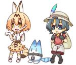 2girls :d animal_ears backpack bag bangs black_footwear black_gloves black_legwear blush bow bowtie commentary_request elbow_gloves extra_ears eyebrows_visible_through_hair full_body gloves grey_shorts hair_between_eyes hands_up hat_feather helmet high-waist_skirt hono kaban_(kemono_friends) kemono_friends light_brown_hair lowres lucky_beast_(kemono_friends) multiple_girls open_mouth pantyhose pith_helmet print_gloves print_legwear print_neckwear print_skirt red_shirt robot serval_(kemono_friends) serval_ears serval_print serval_tail shirt shoes short_shorts short_sleeves shorts simple_background skirt sleeveless sleeveless_shirt smile standing striped_tail tail thigh-highs white_background white_footwear white_gloves white_shirt