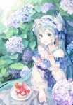 1girl absurdres aqua_eyes aqua_hair bangs bare_shoulders blue_ribbon blush breasts brooch cake cleavage commentary day dress feathers flower food fork frill_trim frilled_dress frilled_hairband frills hair_between_eyes hair_feathers hair_flower hair_ornament hair_ribbon hairband hat hatsune_miku high-waist_skirt highres holding holding_fork hydrangea jewelry leaf lolita_fashion lolita_hairband long_dress long_hair looking_at_viewer maccha_(mochancc) neck_ribbon necklace outdoors parted_lips pearl_necklace plate puffy_sleeves ribbon sitting skirt smile solo strapless strapless_dress straw_hat very_long_hair vocaloid waist_bow white_dress