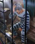 1boy ball_and_chain_restraint barefoot bench brown_eyes envelope facial_hair ggozira grey_hair hand_up highres indoors letter light_rays lock male_focus official_art prison prison_clothes prisoner sitting striped_clothes stubble tenkuu_no_crystalia