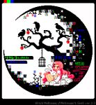 1girl animal animal_hug animated animated_gif apple bare_tree bird birdcage blinking blue_flower cage crescent_moon crow english_text flower food fruit hair_ornament hairclip legs_together long_hair long_sleeves moon original pink_eyes pink_hair pink_shirt pixel_art rabbit red_flower shiny shiny_hair shirt short_sleeves skull toyoi_yuuta translated tree very_long_hair