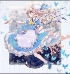 1girl alternate_costume apron bangs blonde_hair blue_dress bug butterfly crystal dress flandre_scarlet frills hair_between_eyes hair_ribbon hat hat_ribbon highres insect katai_(nekoneko0720) maid_apron medium_hair mob_cap open_mouth puffy_short_sleeves puffy_sleeves red_eyes ribbon short_sleeves side_ponytail solo touhou waist_apron white_apron wings