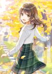 1girl :d autumn_leaves bangs blurry blurry_background blush brown_eyes brown_hair collared_shirt commentary_request day depth_of_field eyebrows_visible_through_hair grass green_skirt hair_between_eyes high-waist_skirt highres leaf long_hair long_sleeves looking_at_viewer looking_back mono_lith open_mouth original outdoors plaid plaid_skirt school_uniform shirt skirt smile solo stairs standing stone_stairs tree white_shirt