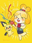 1girl animal_ears bell blonde_hair blush blush_stickers creatures_(company) dog dog_ears dog_girl dog_tail doubutsu_no_mori furry game_freak gen_2_pokemon hair_ornament highres mouse nintendo no_humans open_mouth pichu pokemon shizue_(doubutsu_no_mori) skirt smile super_smash_bros. super_smash_bros_ultimate tail topknot yasaikakiage