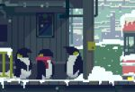 animated animated_gif bird day original outdoors penguin pink_scarf scarf snow snowing sunlight toyoi_yuuta train_station
