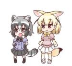 2girls :3 :d animal_ears bangs black_bow black_footwear black_skirt blonde_hair blush bow brown_eyes closed_mouth commentary_request common_raccoon_(kemono_friends) extra_ears eyebrows_visible_through_hair fennec_(kemono_friends) fox_ears fox_girl fox_tail full_body grey_hair grey_legwear hair_between_eyes hands_on_hips hono kemono_friends lowres multiple_girls open_mouth pantyhose pink_sweater pleated_skirt puffy_short_sleeves puffy_sleeves purple_shirt raccoon_ears raccoon_girl raccoon_tail shirt shoes short_sleeves simple_background skirt smile standing striped_tail sweater tail thigh-highs white_background white_footwear white_skirt yellow_bow