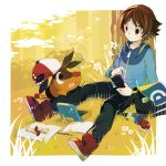 1boy :d against_tree apple apple_core bag black_pants blue_jacket book brown_eyes clouds creatures_(company) day food fruit game_freak gen_5_pokemon grass handbag headwear_switch highres jacket male_focus nintendo open_book open_mouth outdoors pants pencil phone pignite poke_ball poke_ball_(generic) pokedex pokemon pokemon_(creature) pokemon_(game) pokemon_bw polka_dot potion red_footwear shoes smile sneakers touya_(pokemon) tree usa_leaf yellow_background yellow_sky zipper