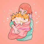 1girl artist_name blanket cerberus dog green_sweater long_sleeves meyoco multiple_heads original pink_background redhead shiba_inu simple_background sparkle sweater upper_body yellow_eyes