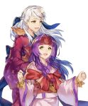 2girls :d bangle bracelet fire_emblem fire_emblem:_akatsuki_no_megami fire_emblem_heroes half_updo highres japanese_clothes jewelry jnsghsi kimono micaiah multiple_girls nintendo obi open_mouth purple_hair sanaki sash siblings silver_hair sisters smile traditional_media wristband yellow_eyes yukata yune