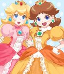 2girls :d blonde_hair blue_background blue_eyes blush brooch brown_hair crown dress earrings floral_background flower flower_earrings gem gloves hands_on_hips hino_(8) jewelry lipstick long_hair looking_at_viewer makeup mario_(series) medium_hair multiple_girls nintendo open_mouth pink_dress pink_lipstick princess princess_daisy princess_peach puffy_short_sleeves puffy_sleeves short_sleeves smile super_mario_bros. white_flower white_gloves yellow_dress