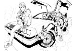 2boys absurdres back_to_the_future car commentary_request delorean dog einstein emmett_brown ground_vehicle hand_on_own_knee highres jacket male_focus marty_mcfly monochrome motor_vehicle multiple_boys murata_yuusuke old_man pen shoes sitting smile sneakers watch watch