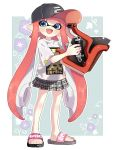 1girl bangs baseball_cap black_hat blue_eyes blunt_bangs commentary domino_mask fang floral_background full_body green_background grey_skirt hat holding holding_weapon inkling inkling_(language) long_hair looking_at_viewer maco_spl mask miniskirt nintendo open_mouth outside_border pleated_skirt pointy_ears print_shirt red_hat sandals shirt short_sleeves skirt slosher_(splatoon) smile solo splatoon splatoon_1 standing t-shirt tentacle_hair weapon white_shirt